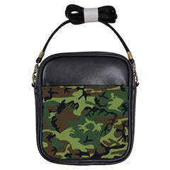 Camouflage Green Brown Black Girls Sling Bags by Nexatart