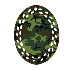 Camouflage Green Brown Black Ornament (oval Filigree) by Nexatart