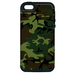 Camouflage Green Brown Black Apple Iphone 5 Hardshell Case (pc+silicone)