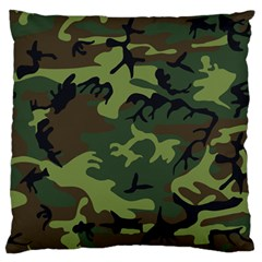 Camouflage Green Brown Black Large Flano Cushion Case (one Side) by Nexatart