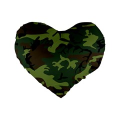 Camouflage Green Brown Black Standard 16  Premium Flano Heart Shape Cushions by Nexatart