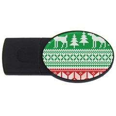 Christmas Jumper Pattern Usb Flash Drive Oval (4 Gb) by Nexatart