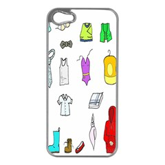 Clothing Boots Shoes Shorts Scarf Apple Iphone 5 Case (silver) by Nexatart