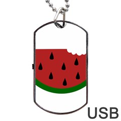 Food Slice Fruit Bitten Watermelon Dog Tag Usb Flash (one Side) by Nexatart