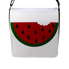 Food Slice Fruit Bitten Watermelon Flap Messenger Bag (l)  by Nexatart