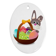 Easter Bunny Eggs Nest Basket Ornament (oval) by Nexatart