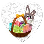 Easter Bunny Eggs Nest Basket Jigsaw Puzzle (Heart) Front