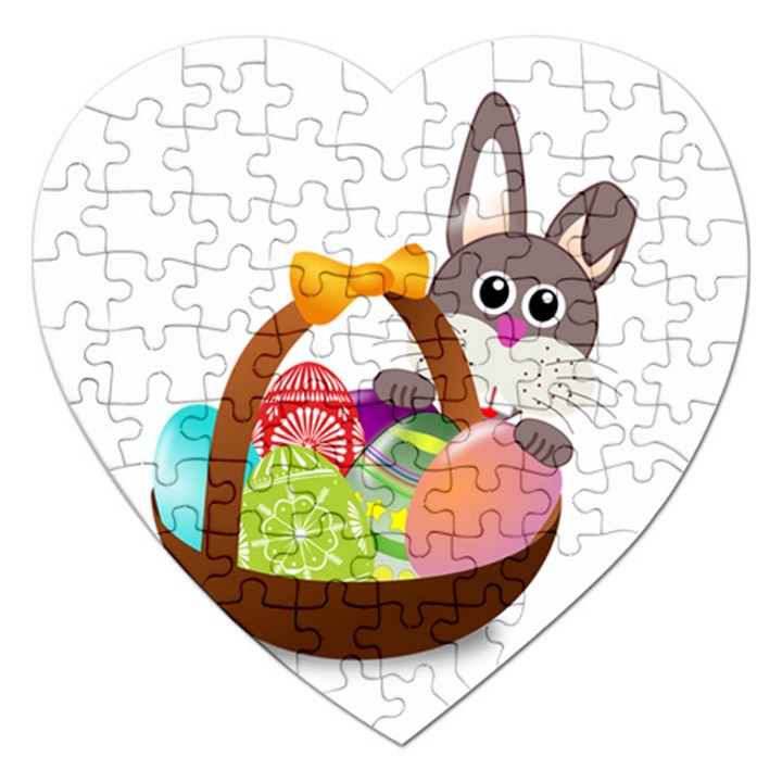 Easter Bunny Eggs Nest Basket Jigsaw Puzzle (Heart)