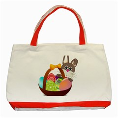 Easter Bunny Eggs Nest Basket Classic Tote Bag (red)