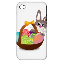 Easter Bunny Eggs Nest Basket Apple Iphone 4/4s Hardshell Case (pc+silicone)