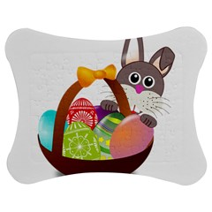 Easter Bunny Eggs Nest Basket Jigsaw Puzzle Photo Stand (bow) by Nexatart