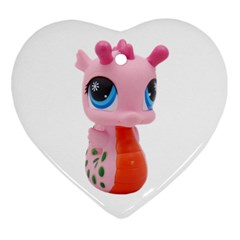 Dragon Toy Pink Plaything Creature Heart Ornament (two Sides) by Nexatart