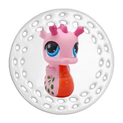 Dragon Toy Pink Plaything Creature Ornament (round Filigree) by Nexatart