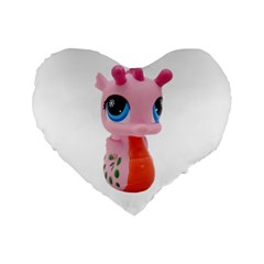 Dragon Toy Pink Plaything Creature Standard 16  Premium Flano Heart Shape Cushions by Nexatart