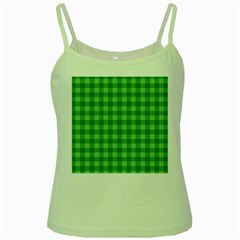 Gingham Background Fabric Texture Green Spaghetti Tank by Nexatart