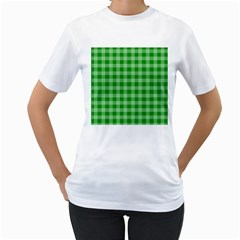 Gingham Background Fabric Texture Women s T Shirt (white) (two Sided)