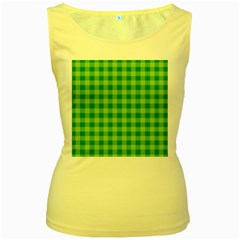 Gingham Background Fabric Texture Women s Yellow Tank Top
