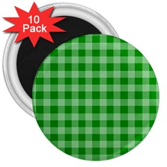 Gingham Background Fabric Texture 3  Magnets (10 Pack)