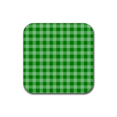Gingham Background Fabric Texture Rubber Coaster (square)