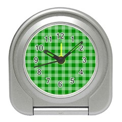 Gingham Background Fabric Texture Travel Alarm Clocks