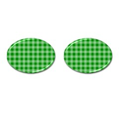 Gingham Background Fabric Texture Cufflinks (oval)