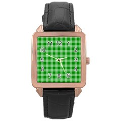 Gingham Background Fabric Texture Rose Gold Leather Watch  by Nexatart