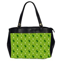 Green Christmas Tree Background Office Handbags (2 Sides)  by Nexatart
