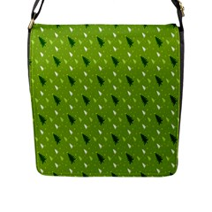Green Christmas Tree Background Flap Messenger Bag (l)  by Nexatart