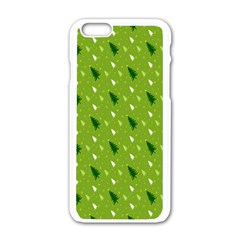 Green Christmas Tree Background Apple Iphone 6/6s White Enamel Case