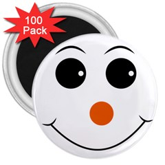 Happy Face With Orange Nose Vector File 3  Magnets (100 Pack)
