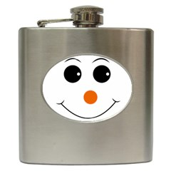 Happy Face With Orange Nose Vector File Hip Flask (6 Oz)