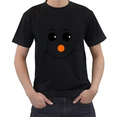 Happy Face With Orange Nose Vector File Men s T Shirt (black) (two Sided)