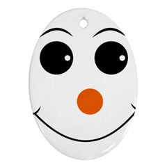 Happy Face With Orange Nose Vector File Oval Ornament (two Sides)