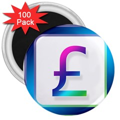 Icon Pound Money Currency Symbols 3  Magnets (100 Pack)