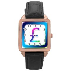 Icon Pound Money Currency Symbols Rose Gold Leather Watch  by Nexatart