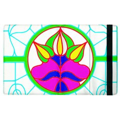 Pattern Template Stained Glass Apple Ipad 3/4 Flip Case by Nexatart
