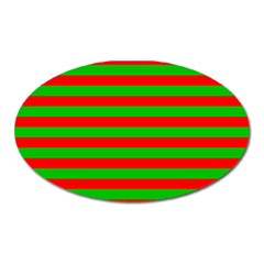 Pattern Lines Red Green Oval Magnet by Nexatart