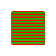Pattern Lines Red Green Square Magnet