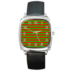 Pattern Lines Red Green Square Metal Watch by Nexatart