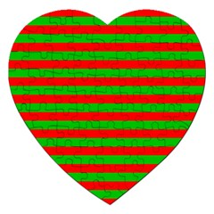 Pattern Lines Red Green Jigsaw Puzzle (heart) by Nexatart