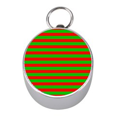 Pattern Lines Red Green Mini Silver Compasses