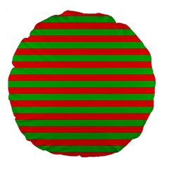 Pattern Lines Red Green Large 18  Premium Flano Round Cushions by Nexatart