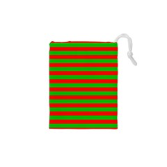 Pattern Lines Red Green Drawstring Pouches (xs)