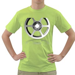 Car Wheel Chrome Rim Green T Shirt