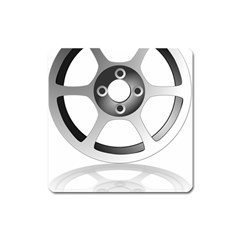 Car Wheel Chrome Rim Square Magnet