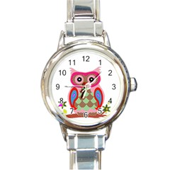 Owl Colorful Patchwork Art Round Italian Charm Watch by Nexatart