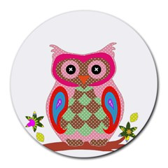 Owl Colorful Patchwork Art Round Mousepads by Nexatart