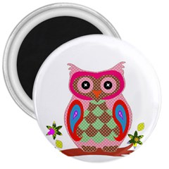 Owl Colorful Patchwork Art 3  Magnets by Nexatart