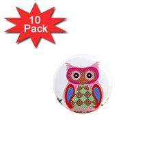 Owl Colorful Patchwork Art 1  Mini Magnet (10 Pack)  by Nexatart