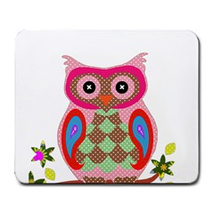 Owl Colorful Patchwork Art Large Mousepads by Nexatart